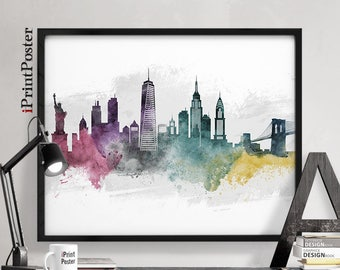 New York city art, New York city art print, New York city poster, New York skyline art, wall art, travel decor, art print, iPrintPoster