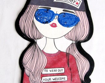 Girls Patch, Potrait Girl Patch, With Saxe Blue Eye Glasses ,Army Cap ,Girl Applique,Sew on Girl Patch