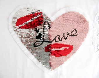Double Sided Lips Patch,LOVE LIPS Applique,Change Color Heart Patch,Double Sided Applique,Silver Sequin Patch,Heart Patch,Sew on Patch