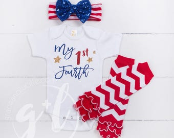 "Fourth of July Outfit, ""My 1st Fourth"" Baby Fourth of July Onesie, Leg Warmers and Headand Combos, Bodysuit, Independence Day Outfit, Girls"