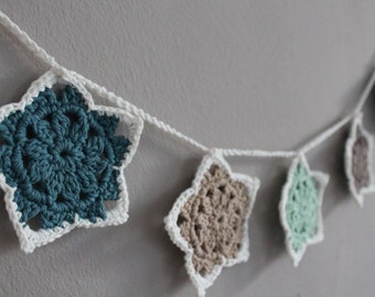 Star Garland | Wall decoration | Nursery decoration - crochet, stained