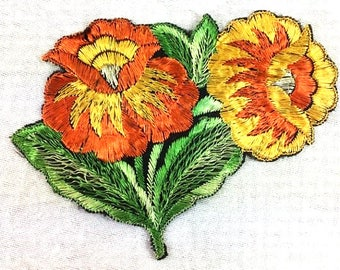 Antique Silk Chrysanthemum Patch Embroidery Applique Patches Antique Flower Patch Applique 1935 Nr 6