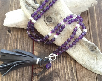 Amethyst Mala Necklace with Leather Tassel, Knotted Mala Beads, Yoga Jewelry,  Handmade Leather Tassel, Boho Jewelry