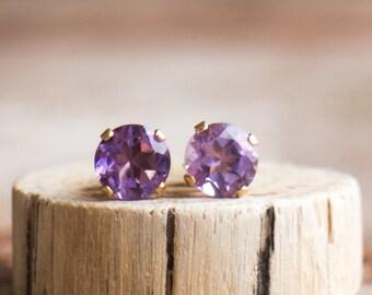Amethyst Stud Earrings in Gold or Silver, February Birthstone, Gemstone Ear Studs, Small Amethyst Ear Posts, Purple Everyday Earrings