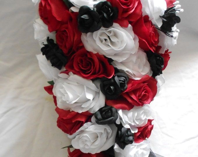 Silk Cascade wedding  bouquet red ,black and white set 23 pieces . Ring bearer pillows , book and pen, flower girl basket, bouquet corsages