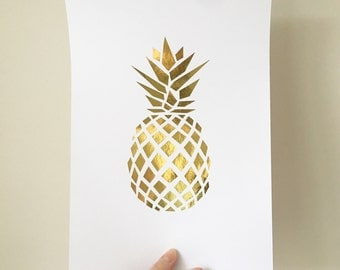 Pineapple Print , Pineapple Foil Print , Pineapple Decor , Pineapple Art , Gold home decor , Rose gold Home Decor , Pineapple Home Decor
