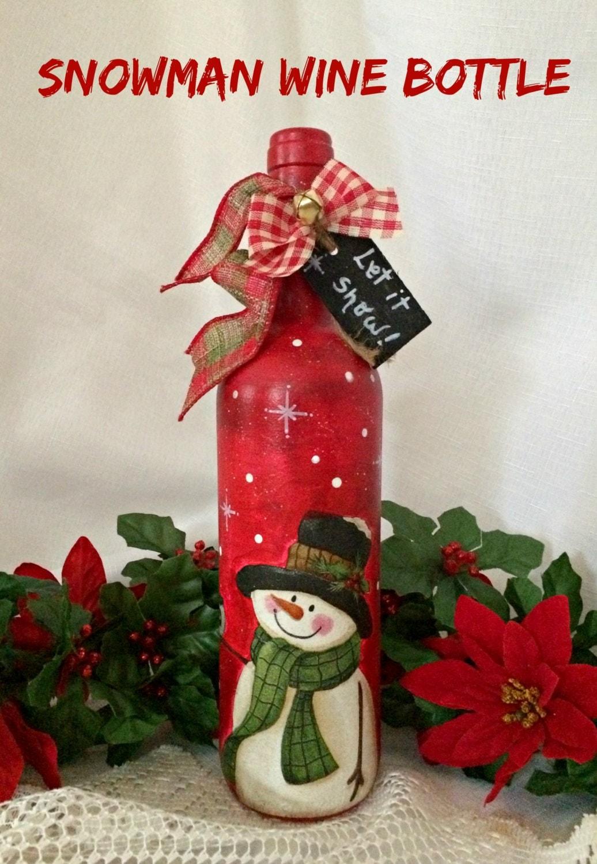 Snowman wine bottle decor Christmas wine bottle art painted