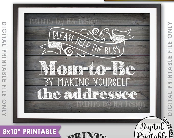 "Baby Shower Address Envelope Sign, Help the Mom-to-Be Address an envelope Shower Decor, 8x10"" Rustic Wood Style Printable Instant Download"