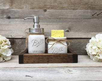 Kitchen Decor, Farmhouse, Mason Jar Kitchen Decor, Mason Jar Spongeholder, Mason Jar Soap Dispenser, Rustic Kitchen Decor, Kitchen Set