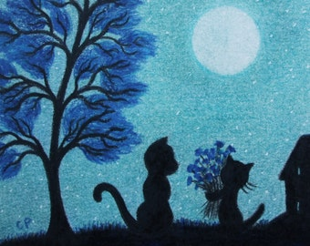 Cat Print, Birthday Gift, Cat Flowers Print, Mother Gift, Cat Kitten Tree Moon, Father Gift, Black Cats, Small Print, Moon Mother Daughter