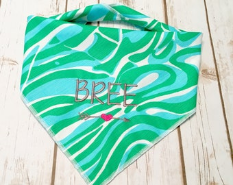 Personalized Dog Bandana Lilly P -  Resort Finders Keepers design in stunning tropical blue and green. Great for any fur color. Reversible