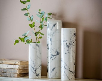 White marble vases - minimalist / modern / contemporary