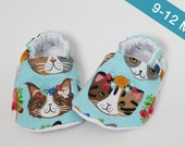 9-12 months - Crib shoes, Baby slippers, Floral cats, Blue, Spring, Flannel, Cotton, Soft soles Moccasins, Shower gift, Newborn, First shoes