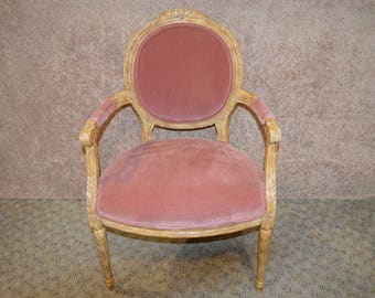 Vintage Carved Country French Style Bergere Chair