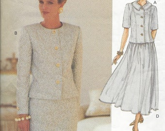 Vogue 8592 Top & Skirt pattern OOP Uncut 8-10-12