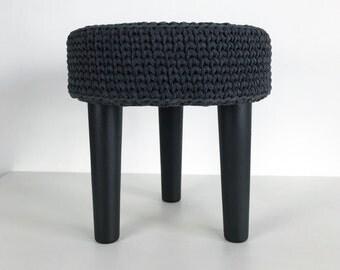 Crochet Grey Round Pouf - Pouf Ottoman - Footstool- Floor Cushion - Nursery Pouf - Floor Pouf