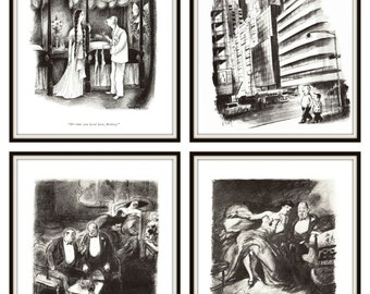 This a group of four New Yorker Comic's. Each page is approx. 8.5 inches wide and 12 inches tall. These are the original pages.