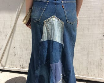 Vintage novelty denim patchwork maxi skirt.