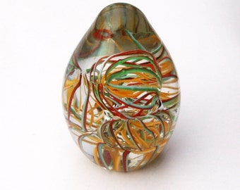 Pretty Swirled Glass Paperweight 4 inches Excellent