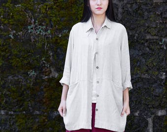 Womens Summer Loose Fitting Long Sleeve Retro Linen Blouses With Pockets, Womans Casual Blouses, Summer Tops, Summer Blouses, Linen Tops
