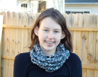 Sparkly Silver, Black, and White  Scarf; Crochetes Necklace; Chained Scarf; Sassy Infinity Scarf; Classy Cowl; Handmade by Anna