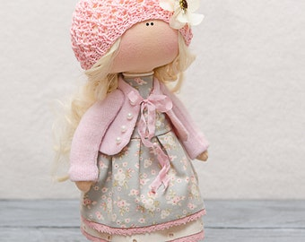 Madelyn Doll-Handmade Doll-Textile Doll-Fabric Doll-Rag Doll-Home Decoration-Christmas Gift-Interior Doll-Christmas Doll-Christmas Present