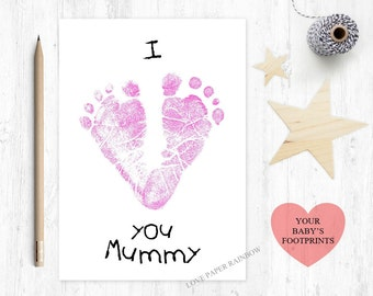 1st mother's day card, i love you mummy, baby footprint card, to mummy, personalised mother's day card, mummy birthday card, from baby