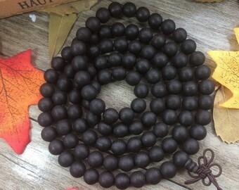 108pc 8MM Black Thread Agarwood Eaglewood Beads Meditation Buddhist Japa Mala Necklace