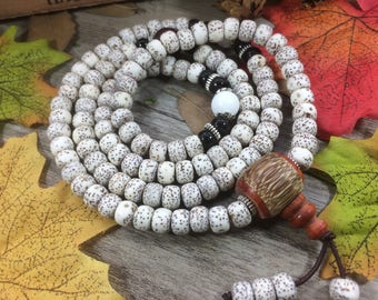108pc 8X6mm Natural White  Lotus Seeds Bodhi Beads Meditation Buddhist Japa Mala DIY Necklace