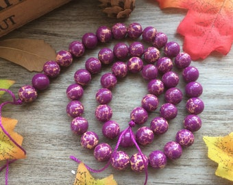 1 Strand Purple Natural Imperial Jasper Gemstone Loose Beads For Jewelry Necklace Spacer Beads Charms