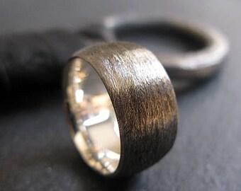 Black Silver Ring Mens Wedding Band Mens Wedding Ring 10mm Viking Wedding Ring Rustic Man Wedding Ring Unique Mens Wedding Band Man Wedding