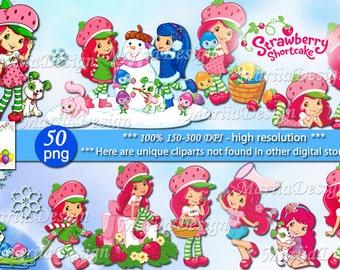 Strawberry shortcake Clipart - 50 PNG, 150-300Dpi, Strawberry shortcake clip art, Strawberry shortcake party, strawberry shortcake printable