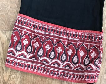 Vintage indian cotton wide leg pants block print, Medium