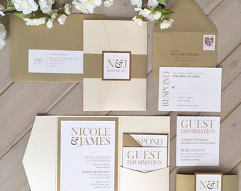 Neutral Wedding Invitations, Gold Wedding Invitations, Gold and Ivory Wedding Invitations, Shimmer Pocket Wedding Invitations