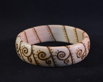 Wooden Bracelet with pyrography swirl design suitable for men or women