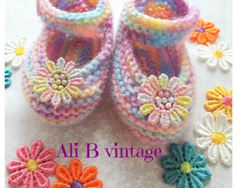 Baby girl shoes Baby knitted shoes Mary Jane style baby girl shoe rainbow colour Babies Knitted Shoe baby gift lace white flower baby shower