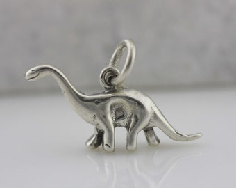 Sterling Silver Dinosaur Necklace, Silver Dinosaur Charm, Kid Necklace, Sterling Silver Brontosaurus Necklace, Silver Apatosaurus Charm