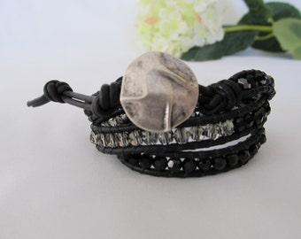 Black Wrap Bracelet, 3 x Wrap Bracelet, Black Leather Wrap Bracelet, Boho Wrap Bracelet, Black and Silver Wrap Bracelet, Bohemian