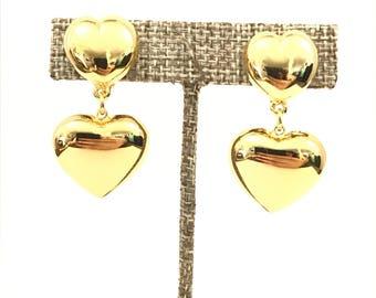 Vintage Gold Heart Drop Clip Earrings // Gold Tone Puffy Heart Clip On Earrings