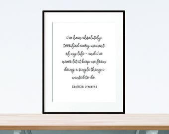 digital print -  Georgia O'Keeffe quote - digital download print - home decor wall art - black and white print - digital art - printable art