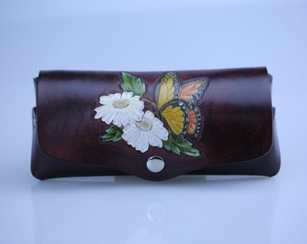 Carved leather Eyeglass Case, Leather Glasses Box