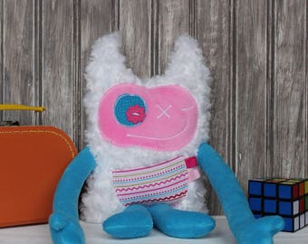 Hug Monster with horns, handmade plush toy,  pink and blue with line on pocket, friendly monster for girl,unique  birthday gift, ready to go