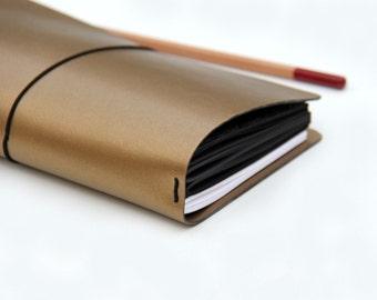 Bronze Travelers Notebook, Fauxdori Cover, 2017 Planner Cover, Wide Travelers Notebook, Journal, Hobonichi, Bullet Journal, Gold Planner