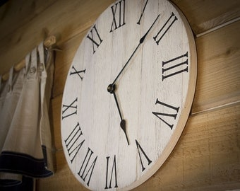 Farmhouse Wall Clock, Rustic Wall Clock, Wall Clock, Large Wall Clock, Wooden Wall Clock, Wall Clock Large, Wall Clocks, Home Decor