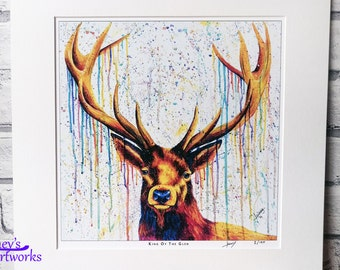 Stag PRINT, stag painting, stag art, bright stag, stag gift, stag lover, scottish stag,  stag art print, home decor, office art