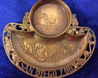 Vintage San Diego Zoo Pot Metal Trinket Dish