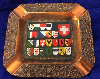 Swiss Coat of Arms Copper Pot Metal Ashtray