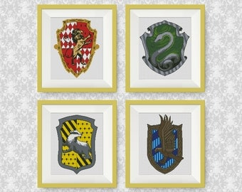 SET, Harry Potter Cross Stitch Pattern, Gryffindor, Slytherin, Hufflepuff, Ravenclaw, PDF counted cross stitch pattern, #P139