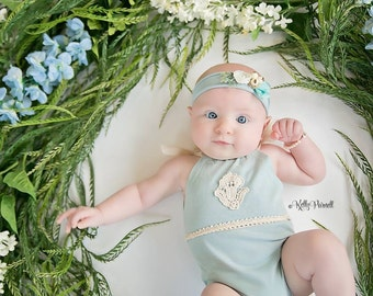 Newborn Romper Set, Romper, Baby girl romper set, Dusty Blue, Vintage,Baby girl photo prop, Tieback, Photo Prop