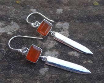Sterling Silver Natural Carnelian Stone Dangle Earrings - Sterling Silver Earrings - Gemstone Earrings - Carnelian Natural Stone earrings